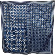 Vera Neumann Designer Signed Ladies Geometric Scarf Blue & White from victoriasjems on Ruby Lane