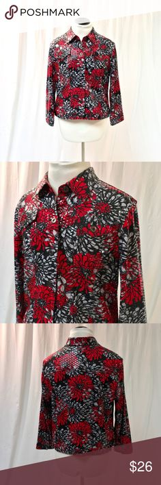 Ruby Rd Funky Jacket Cute and fun Red/Black Jacket from Ruby Rd! Women's size 12. It even has 5% spandex in the material! Lightweight and casual jacket- great with jeans! Very good condition! Ruby Rd. Jackets & Coats