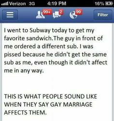 This is what people sound like when they say gay marriage affects them.