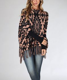 Another great find on #zulily! Peach & Black Tribal Fringe Sweater by Pinkblush #zulilyfinds