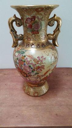 """14"""" Antiaue Large Satsuma"""" Asian Porcelain Enameled Handle Vase"""