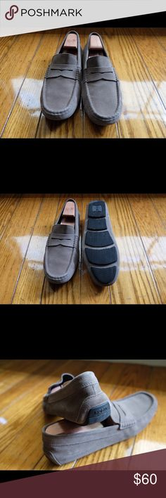 Hogan men's loafers! Men's  Italian loafers! Great condition! Solid gray color, round toeline, leather lining, rubber cleated sole, flat, soft suede. Hogan Shoes Loafers & Slip-Ons