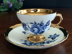 1950's Rosina Teacup and Saucer, Gold Banded Floral Tea Cup Made in England -J-