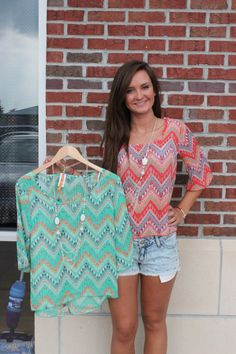 Orange and green chevron tops with attached necklace - $24.00 Email jen@jendaisy.com to order!