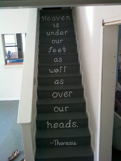 words on stairs