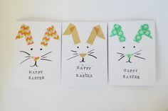 Osterhasen-Ohren aus farbigem Washi-Tape-Osterkarten basteln mit Kindern