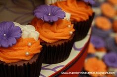 purple & orange cupcakes