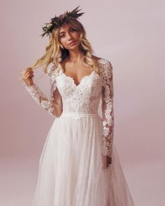 Stunning boho vintage inspired lace a line gown by Rebecca Ingram. Soft romantic lace bodice with full length lace sleeves & a dreamy floaty skirt. Floaty Wedding Dress, A Line Wedding Dress With Sleeves, Wedding Dresses Uk, Wedding Dress Boutiques, Bridal Gowns, Tulle Wedding, Wedding Dress Petite, Vintage Boho Wedding Dress, Lace Sleeve Wedding Dress