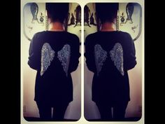 D.I.Y Angel Wing Design on the back of an old Sweater/Tshirt - YouTube