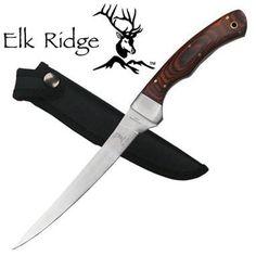 Elk Ridge Fillet Knife. Elk Ridge Fillet KnifeQUALITY Fillet Knife & Sheath Overall Length: 12-1/8Blade Length: 7Blade Material: 440 Stainless Steel Handle Material: HardwoodSheath: Black Nylon 805319042037
