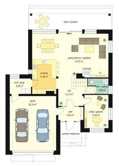 Concrete Houses, Dream House Plans, Home Design Plans, Planer, Bungalow, Villa, Floor Plans, House Design, Flooring