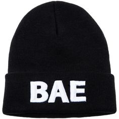 We Are Pop Culture The BAE Beanie in Black (610 CZK) ❤ liked on Polyvore featuring accessories, hats, beanies, hair, black, embroidery hats, embroidered beanie, acrylic beanie, acrylic hat e embroidered beanie hats