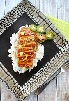 Teriyaki Salmon with Sriracha Cream Sauce. This is the best salmon recipe ever. The Sriracha sauce will blow your mind!