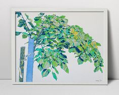 Young linden tree - handmade serigraph - young tree art - plant art - botanical art - leave art - floral screen print - tree wall decor