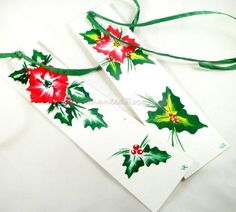 Red Poinsettia Hand Painted Bookmarks  by EnchantedRoseShop