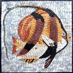 "16x16"" Orange Fish Marble Mosaic Art Tile Wall Decor by Mozaico. $170.00. Mesh backing. Completely hand-made. Uses and display locations are unlimited!. Design can be customized as to size and / or colors. All natural stones. Mosaics have endless uses and infinite possibilities! They can be used indoors or outdoors, be part of your kitchen, decorate your bathroom and the bottom of your pools, cover walls and ceilings, or serve as frames for mirrors and paintings."