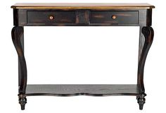 Console with two drawers and a bottom shelf, made of birch in dark and light brown tiger stain.