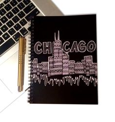 Chicago Notebook - Chicago Skyline - Windy City - Home Decor - Black and White - Tribal Art - Drawing - Pen and Ink