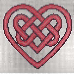 Cross Stitch Pattern Red Heart Knot PDF Emailed Craft Celtic Symbol Irish Unity…