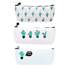 Demarkt 3 PCS Lovely Cactus Pencil Case Canvas Pencil Holder Stationary with Zipper Multifunctional Cosmetic Bag Purse: Amazon.co.uk: Kitchen & Home