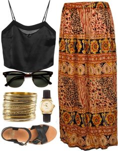 Maxi Skirt, Loose Crop Top (black), Comfy sandals (black), Boho stacked bracelet, accented watch, and casual glasses.