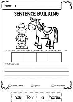 June Sentence Building has 30 pages of sentence building worksheets. This product will teach children to read, write and build sentences. Children are encouraged to use thinking skills while improving their comprehension and writing skills. These pages ar Writing Resources, School Resources, Writing Skills, Teacher Resources, Kindergarten Worksheets, Classroom Activities, Sentence Building, First Grade Writing, Thinking Skills