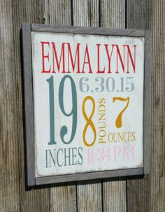 Birth Announcement Sign, Birth Newborn Birth Stat,wall art, Baby wall decor, Baby name sign, Nursery, Rustic. by MadeByFreckles on Etsy