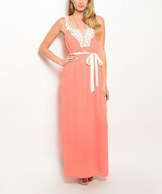 Loving this Coral & Ivory Crochet-Accent Maxi Dress on #zulily! #zulilyfinds