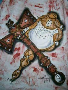 Symbols of Shango/Xangô, Orisha of justice, and Oshun/Oxum, Orisha of love. By Fabio Araujo. Shango Orisha, Yoruba Orishas, Spirited Art, Symbolic Tattoos, The Conjuring, African Art, Magick, Tatoos, Body Art