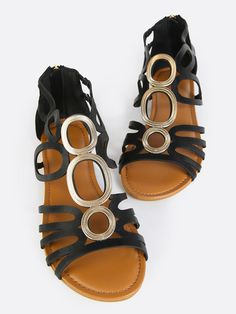 Shop Metallic Center Cut Out Sandals BLACK online. SheIn offers Metallic Center Cut Out Sandals BLACK & more to fit your fashionable needs.