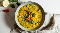 Creamy lentil dahl with greens Healthy Toddler Snacks, Healthy School Lunches, Toddler Meals, Healthy Breakfast Recipes, Clean Eating Recipes, Toddler Food, Lunch Box Recipes, Baby Food Recipes, Lentil Dahl
