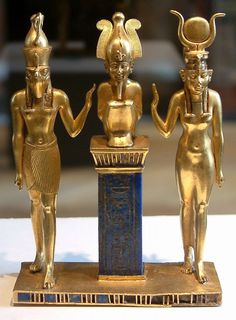 Title: Osiris, Isis and Horus Time: B. This is a Statue of the Egyptian god of Osiris Isis and hours together. It is made out gold and lapis lazuli.