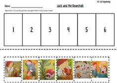 Pictures from: Jack and the Beanstalk book from Scott Foresman's Kindergarten Reading Street Unit 2 Week 6Students cut out the pictures and glue them in the correct order! Could be used as an assessment at the end of the week, or just a fun activity :)
