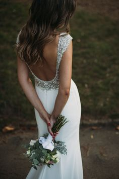 Marta, one of our brides, with Vanila dress and her hair down. Photo: La Dichosa
