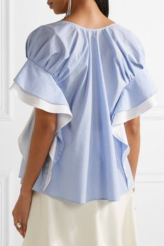 Adeam | Ruffle-trimmed striped cotton-poplin top | NET-A-PORTER.COM