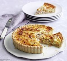 Mary Berry's quiche lorraine.  Place small slices on a plate with finger sandwiches.