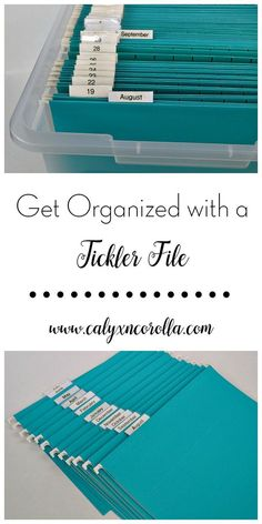 Get Organized with a Tickler File - Calyx & Corolla Are you tired of having project piles and to-do's strewn across your desk and home office? Are yo Diy Organisation, Office Organization At Work, Organizing Paperwork, Clutter Organization, Planner Organization, Organizing Your Home, Organized Office, Organising, File Cabinet Organization