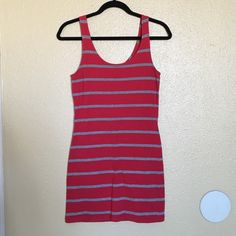 Forever 21 Red Bodycon Dress XXI red bodycon dress with grey stripes across it. Looks great with a cardigan or on its own with a chunky necklace. Size S. Forever 21 Dresses Mini