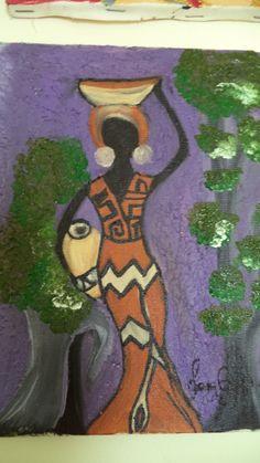 africana com vaso de barro
