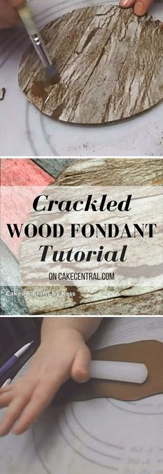 Crackled Wood Fondant Tutorial - I this video I will show you how to create a realistic, textured and easy weathered fondant technique using wafer paper. Cake Decorating Designs, Cake Decorating Videos, Cake Decorating Techniques, Cookie Decorating, Decorating Tools, Cake Icing Techniques, Fondant Tips, Fondant Tutorial, Fondant Cakes
