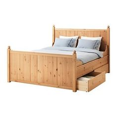 HURDAL Bed frame with 4 storage boxes - Queen, - - IKEA