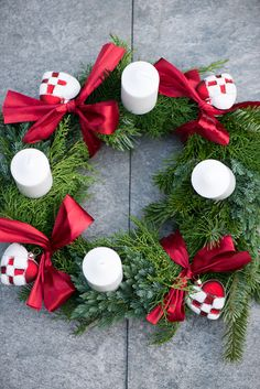 Adventskrans: Advent wreath. A Danish Christmas tradition from the 1940s. The hearts on this is particularly Danish.