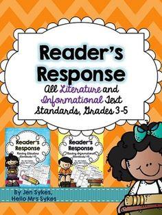 Reader's Response Bundle - All Literature and Informational Text CCSS ELA Standards, Grades 3-5, $