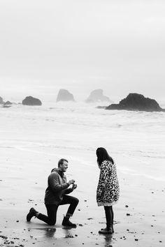 Romantic Canon Beach proposal photographer at the Oregon Coast, PNW engagement photography