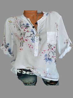 3c95b445c0351 V Neck Loose Fitting Print Blouses  LooseBlouse  FloralTop affiliate   NewArrival  WomensFashion Boho