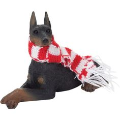 Sandicast Black Doberman Pinscher with Red and White Scarf Christmas Ornament ** Read more reviews of the product by visiting the link on the image.