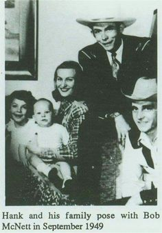 Lycrecia, Hank Jr, Audrey and Hank Sr with Bob McNett in September 1949.