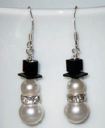 Swarovski crystal and pearl snowmen earrings.