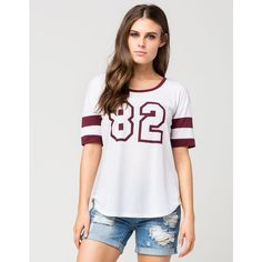 SIRENS AND DOLLS 82 Womens Football Tee (27 AUD) ❤ liked on Polyvore featuring tops, t-shirts, white combo, scoop neck tee, white t shirt, striped t shirt, striped tee and short sleeve t shirts