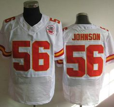 Nike Kansas City Chiefs Jersey #56 Derrick Johnson White Elite Jerseys